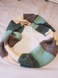 blue, brown, and beige scarf