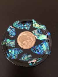 Kitchen Hotplate (Trivet) Vintage Rare Paua (abalone) shell and coin Surrey, V3S 7N4