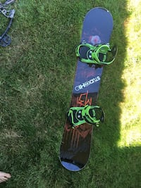Red, Orange, green, and black snowboard with bindings Doylestown, 44230