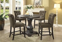 Round 5 piece Counter Height Dining Table Parson Chairs Riverside