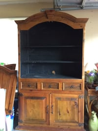 Brown wooden tv hutch with flat screen television Champlin, 55316