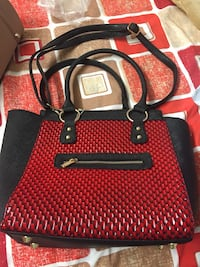 Red and black 2-way hand bag