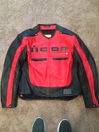 Black and red leather iCon motorcycle jacket. $200 obo Williamsburg, 23188