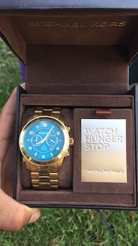 round gold-colored Michael Kors chronograph watch with box Pico Rivera, 90660