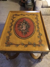 Brown wooden framed floral coffee table Jeffersonton, 22724