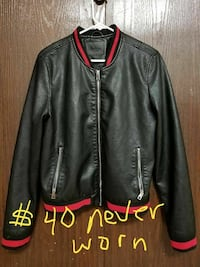 black and red leather zip-up bomber jacket