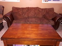 Fabric/leather EUC brown sofa/love seat/tables  Edmonton, T5T 4A8