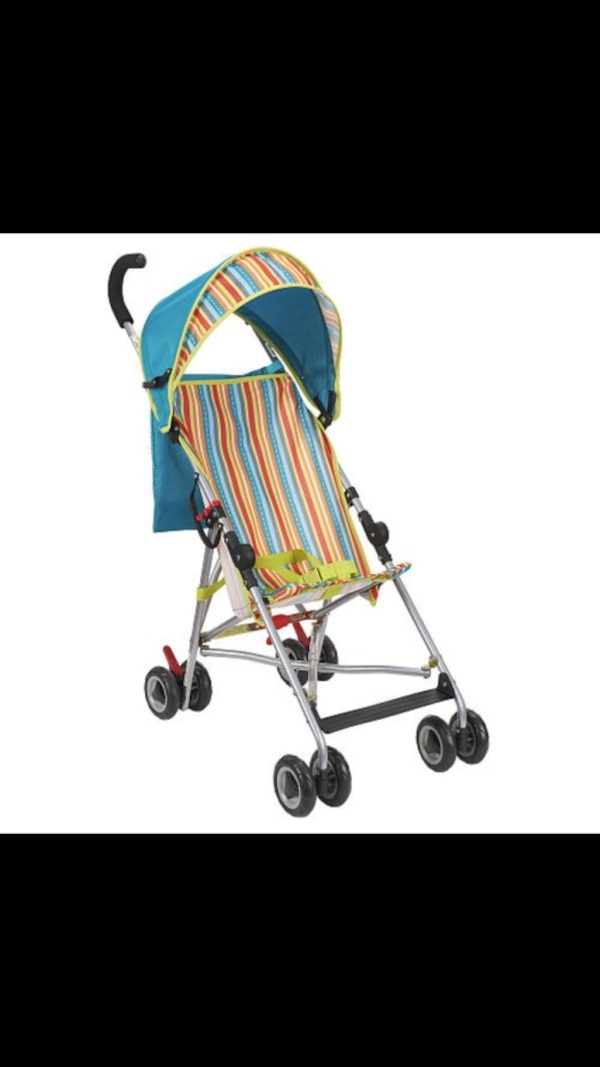 baby's blue and red stroller