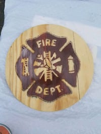 brown and beige Fire Dept. logo 801 mi