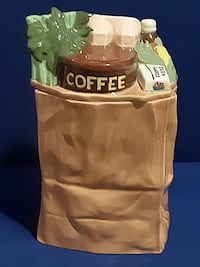 Vintage Grocery Bag Cookie Jar Container Made by ES Molds- Great Colle Saint Marys