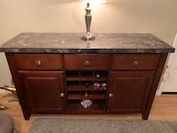 Beautiful marble kitchen table with matching server and six barstool size chairs Vancouver, 98682