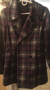 purple, black, and white plaid double-breasted coat