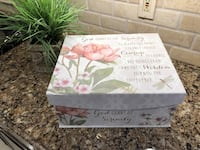 "Large Storage Box with gold foil lettering 14.5"" wide x 6"" high"