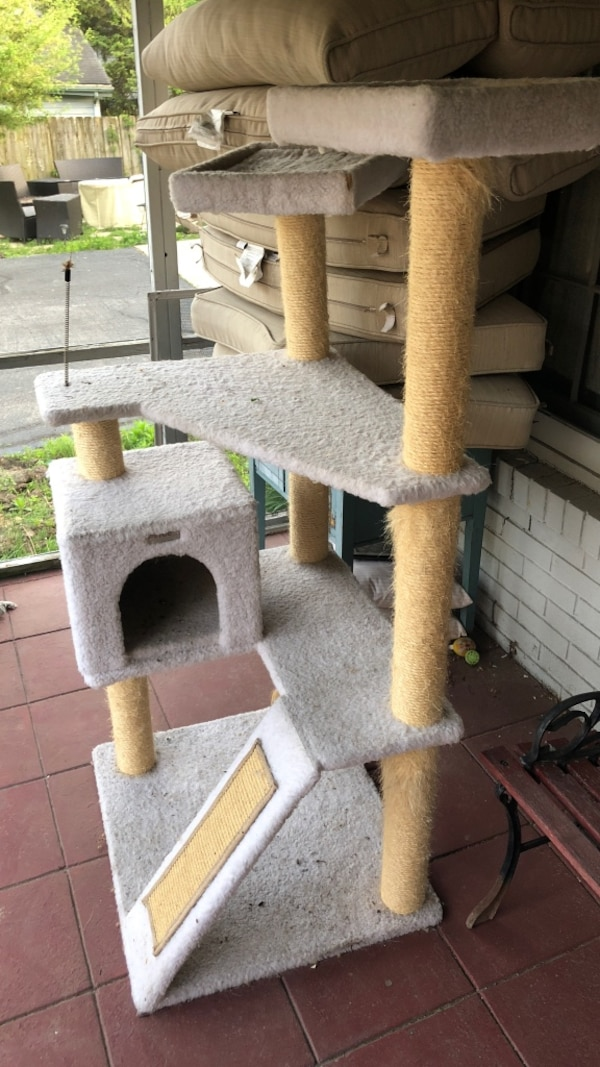two white cat tree and brown cat tree