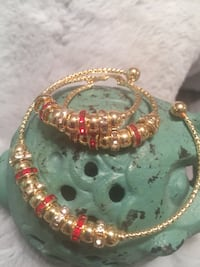 18k GPL Bracelet And Earrings Set Red Or Blue