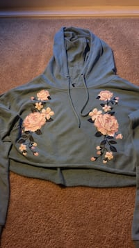 Blue and pink floral print pullover hoodie Calgary, T3A 1X6