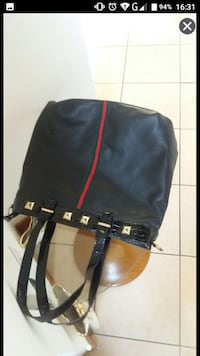 tote bag in pelle nera