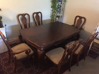 Dark brown adjustable dining table with 6 chairs  Virginia Beach, 23453