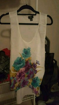 white and blue floral tank top