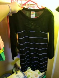 black and white striped long-sleeved shirt