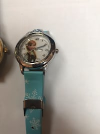 round silver analog watch with blue leather strap Falls Church, 22041
