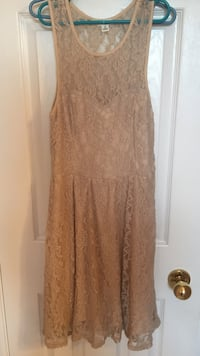 Beige lace floral high neck sleeveless dress null, N3W