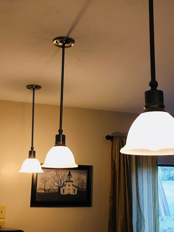 """3 pendant lights, hang about 27"""", one flush mounted light.  Brushed nickel.  Pick up only.  SG/Jefferson area. ece78c11-dd40-4acc-983d-8cc7a56a621f"""