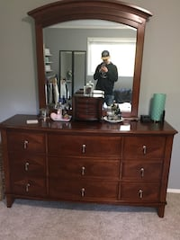 Dark solid oak vanity with mirror Central Saanich, V8M 1H3