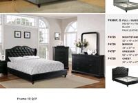 black wooden bed frame with white mattress Santa Ana