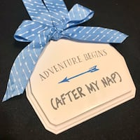 "Brand New Baby Boy Fun Cool Decor ""Adventure Begins After My Nap"" Wooden Sign Glendale, 85302"