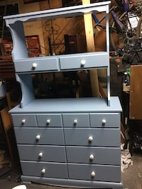 Refinished. Baby blue dresser and hutch