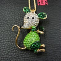 Betsey Johnson Green Mouse Sweater Necklace Moore