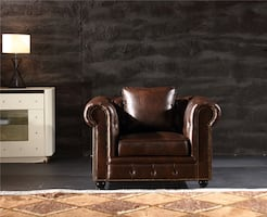 New Brown Leather Chesterfield chair Tufted