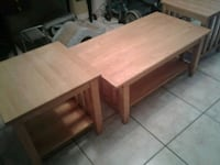 1 coffee table and 2 end tables clear oak Tampa