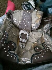 Green camouflage  book bag