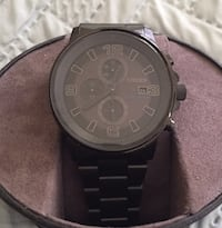 Round black chronograph watch with link bracelet Raleigh, 27617