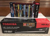 Toshiba A3 HD-DVD player NEW open box $45 - HD-DVD movies/TV (lot of 22) $25