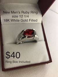 New Ruby Ring, 18K Gold Filled, Size 12 1/4, a Ring Box is included Chesapeake, 23320