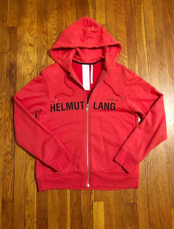 "New! Helmet Lang hoodie paid $495 size authentic! Excellent condition. Style ""Red Champaign"" print hoodie. Fabric 100% cotton this is a unisex hoodie. The men's fit is regular and women's fit is an oversized look.  e7353347-e94c-4081-a2ca-d6c2f9d1b7cc"