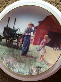 farmer and girl near tractor outside barn house hand painted decorative plate Tigard, 97223