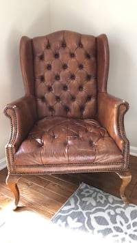 brown leather tufted sofa chair Herndon, 20194