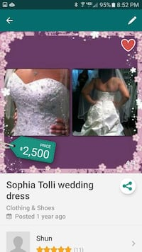 Sophia Tolli Wedding gown. Frederick, 21702