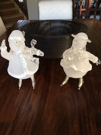 "Frosted Glass Snowman Ice Skating Figurines ~10"" Tall Calgary, T3H"