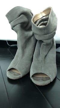pair of gray suede peep-toe heeled sandals Miami, 33131