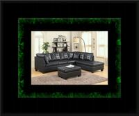 Black sectional with ottoman Crofton