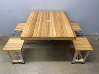 Beautiful Wooden Folding Picnic Table by Corby Great Outdoor & Camping