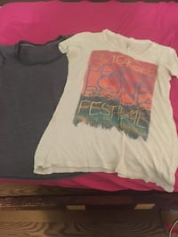two grey-and-white American Eagle shirts