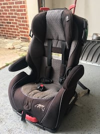 black and grey Alpha Omega car seat