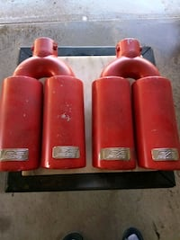 two red and red fixed weight dumbbells North Little Rock, 72118