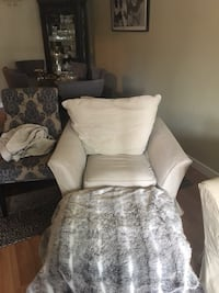 brown and white floral sofa chair White Rock, V4B